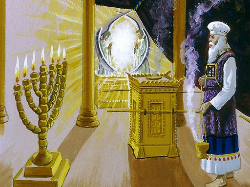 The Golden Altar is directly in front of the Most Holy Place
