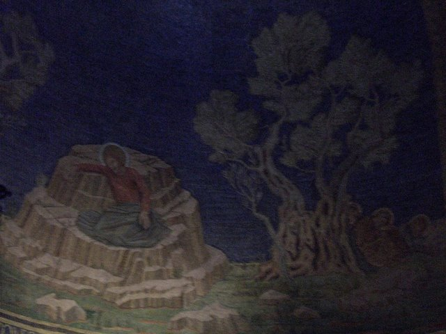 The scene depicting Christ's last night in Gethsemane, and the disciples sleep under an olive tree.