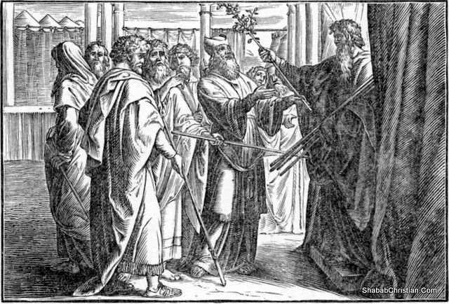 Moses Displays the Budded Rod of Aaron