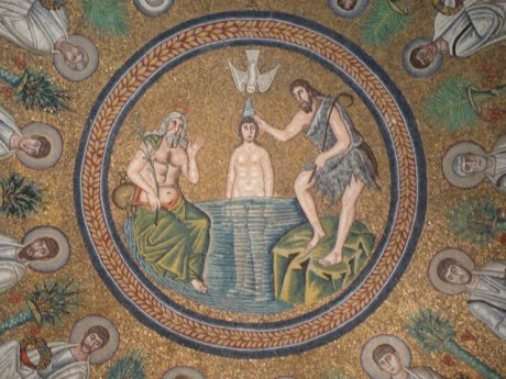 Water comes from the Holy Spirit at the Baptism of Jesus