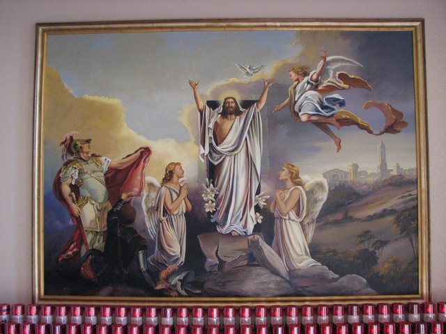 Jesus Arises to Heaven - Mansions in the Background