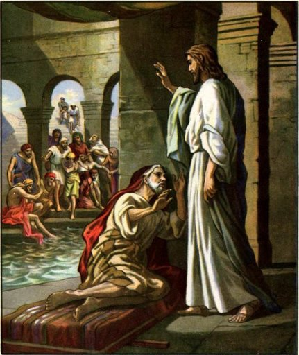 Jesus heals the man at the pools.